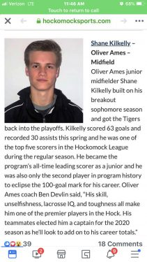 Shane Kilkelly from Abington Player Profile by LaxRecords.com
